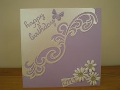Birthday card using the Lyra die and some daisies from hobby craft