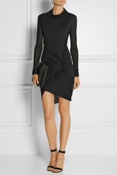HELMUT LANG Wrap-effect Micro Modal-jersey dress $295 EDITORS' NOTES & DETAILS Helmut Lang puts a modern twist on the classic LBD with this wrap-effect Micro Modal-jersey dress. This soft-to-the-touch design has an asymmetric hem and a large knotted detail that draws the eye in to a nipped waist. Style yours with sandals and a slim clutch.