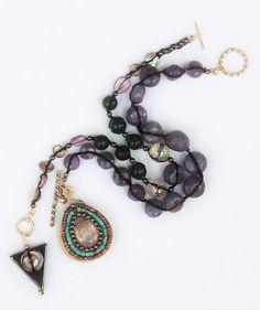 Tanzanite and Green Onyx Bracelet Duo by SheruJewelry on Etsy