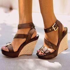 cool Shoespie Platform Hasp Open Toe Wedge Sandals