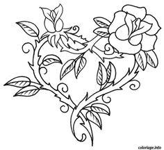 Coloriage saint valentin coeur en forme de fleur Dessin à Imprimer