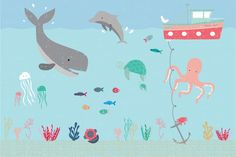 Looking for a fun and adorable wallpaper for your baby's nursery or child's bedroom? Our exclusive Kids Under the Sea Wallpaper Mural is a playful underwater scene featuring friendly cartoon characters such as a cute whale, dolphin, octopus and turtle. Any child will love this charming design that will make a nursery or bedroom excitingly unique and...  Read more