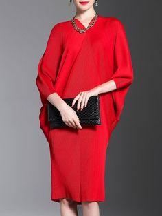 V Neck Elegant Sheath Dress V Neck Midi Dress a789c4cd7af