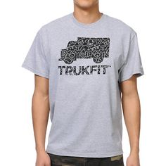 Cruise the streets in standout style and comfort this summer with the Radiant Fill tee shirt in the heather grey color way for guys from Trukfit. Making simple look good, this crew neck standard fit tee features the Trukfit logo and graphic on the chest with custom radiant fill print within the graphic in black and grey, and a small white Trukfit graphic on the left sleeve. Effortlessly earn swag points in the Trukfit Radiant Fill tee shirt.