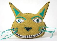 acid green cat pin by RawBoneStudio on etsy