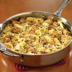 """Chicken Piccata Pasta - The Pampered Chef® This is the best. All cooked in one pot-Pampered Chef 12"""" skillet. Fast and easy. www.pamperedchef.biz/cfesler"""