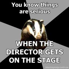 Backstage Badger (theatre techies) You mean Rocky Horror Picture Show. Theatre Jokes, Theatre Problems, Theatre Nerds, Music Theater, Theater Quotes, Theatre Posters, Children's Theatre, Broadway Theatre, Neil Patrick