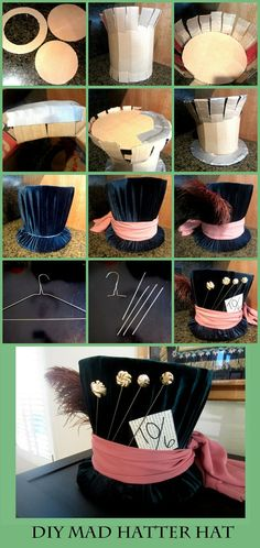 DIY Mad Hatter Top Hat DIY Mad Hatter hat from Alice In Wonderland -> Just in case I decide to go as him for halloween this year The post DIY Mad Hatter Top Hat appeared first on Paris Disneyland Pictures. Diy Mad Hatter Hat, Mad Hatter Party, Mad Hatter Tea, Mad Hatter Cosplay, Mad Hatter Diy Costume, Mad Hatter Makeup, Mad Hatter Birthday Party, Alice Costume, Mad Hatter Fancy Dress