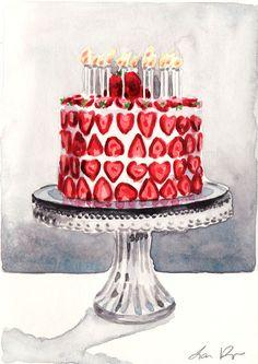 Fragola celebrazione compleanno torta  di LauraRowStudio su Etsy