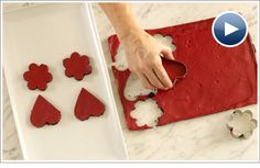 Stop-Motion Red Velvet Cheesecake Cutouts from Cooking Club.