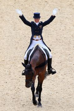 Lucinda Fredericks of Australia riding Flying Finish competes in the Dressage Equestrian event on Day 2 of the London 2012 Olympic Games at Greenwich Park on July 29, 2012 in London, England.  (July 28, 2012 - Source: Alex Livesey/Getty Images Europe)