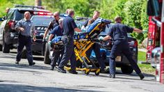 In this May 31, 2014 file photo rescue workers take 12-year-old stabbing victim Payton Leutner to an ambulance in Waukesha, Wis. A pivotal decision is expected Monday, August 10 2015, in the case of the two 13-year-old Wisconsin girls accused of stabbing Leutner to please online horror character Slender Man. Waukesha County Circuit Judge Michael Bohren will rule Monday whether to move the girls out of adult court and into the juvenile system. Abe Van Dyke/AP
