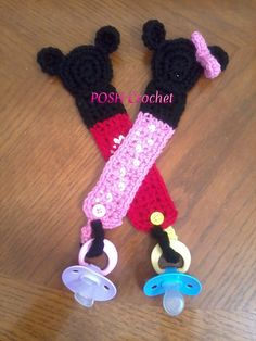 Ravelry: Mickey & Minnie Mouse Pacifier Holder pattern by Ariana Meza
