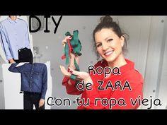 3 camisas diferentes de Zara transformando tu ropa vieja. DIY - YouTube Refashion, Diy Crafts, Youtube, T Shirt, Gifs, Modeling, Upcycled Clothing, Clothing Alterations, Supreme T Shirt