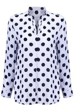 Romwe Polka Dots V-neckline White Shirt