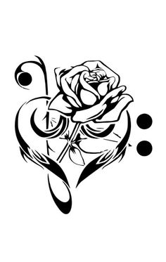 Bass and treble clef heart with rose tattoo