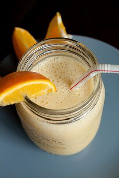Orange Julius      1/2 cup low-fat or skim milk  1/2 cup cold water  2 tbs sugar or sugar substitute  1 tsp vanilla extract  4-5 ice cubes  6 oz frozen orange juice concentrate (I cut a 12 oz can of frozen orange juice in half and save the other half for your next smoothie)    Place everything in a blender and blend for several minutes until smooth and frothy.