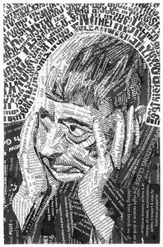 Portrait of Australian author Norman Lindsay.    Newspaper, glue.