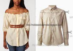 Mens dress shirt into cute off shoulders womens top