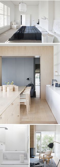 White + Pale Timber Interior Design Project: Alfred Street Residence Architects: Studio Four Photographer: Shannon McGrath Location: Prahran, Victoria, Australia Kitchen Interior, Interior, Kitchen Decor, Cheap Home Decor, Home Decor, House Interior, Home Kitchens, Kitchen Design, Residential Interior