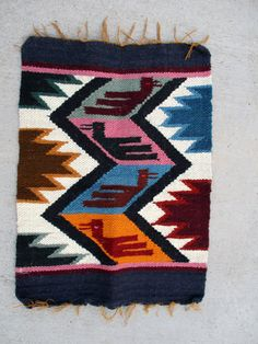 Vintage Southwestern Mexican Woven Wool Tribal by retrosideshow