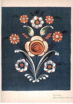 """""""Fra en kiste, Malt av Traelholmen, Fister, 1815"""" by Knut K Hovden in Gammel Rosemaling I Rogaland."""
