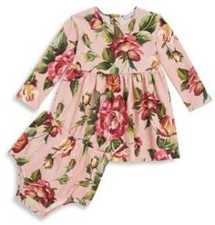 Floral Long-Sleeve Dress & Bloomers Set | Adorable | Floral | Baby | Girl | Bloomers | Pink | Stylish | Trendy | Fashion | Outfits | Clothes |