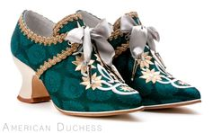 """American Duchess """"Royale"""" custom made 18th century shoes for Whoopi Goldberg.  Find similar 18th century """"Pompadour"""" shoes at http://www.american-duchess.com/shoes-18th-century"""