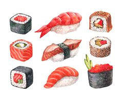 Watercolor illustrations of sushi on Behance Sushi Drawing, Food Drawing, Watercolor Images, Watercolor Illustration, Watercolour Art, Leftover Pork Roast, Desserts Drawing, Sushi Party, Taiwanese Cuisine