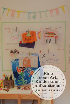 the tiny gallery – Die etwas andere Art, Kinderkunst aufzuhängen Hang up kids pictures hanging a slightly different kind of children's art works. The gallery in the nursery Kids Artwork, Art Wall Kids, Bean Bag Seats, Colourful Cushions, Kidsroom, Design Thinking, Cool Walls, Kids And Parenting, Wall Design