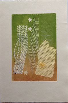 Untitled (Honeycomb with stars): Monoprint on Stonehenge paper. Image size 12.5cm x 19cm SOLD