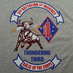 The Thundering Third Battalion Marines T-Shirt Marine Corps Emblem, Us Marines, Third, Semper Fi, Division