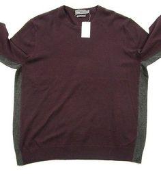 Vince-Mens-Burgundy-Gray-Crew-Neck-Cashmere-Sweater-Size-2XL-325