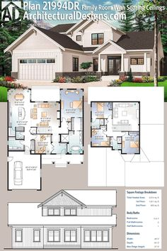 Architectural Designs House Plan 21994DR gives you 3 beds and an upstairs study (or 4 beds if you use that as a bedroom), a family room with soaring ceilings and over 2.600 square feet of heated living space. Ready when you are. Where do YOU want to build? #21994DR #adhouseplans #architecturaldesigns #houseplan #architecture #newhome #newconstruction #newhouse #homedesign #dreamhome #dreamhouse #homeplan #architecture #architect #craftsmanhouse #craftsmanplan #craftsmanhome