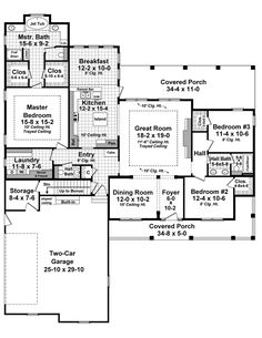 First Floor Plan of Country   Farmhouse  Southern   Traditional   House Plan 59934