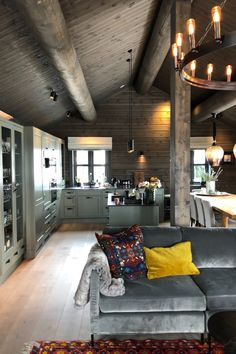 Converted Garage, Yellow Interior, Cabin Kitchens, Dere, Cabin Interiors, Green Kitchen, House In The Woods, House Ideas, Cottage