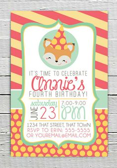 Fox Custom Birthday Party Printable Invitation Girl party invite supplies What does the Fox Say?  Yellow Stripe Polka Dot Printing Service