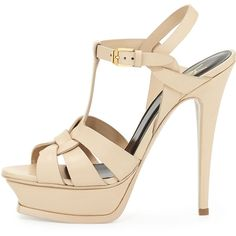 Saint Laurent Tribute Leather Platform Sandal (1,220 CAD) ❤ liked on Polyvore featuring shoes, sandals, heels, sapatos, high heel sandals, leather platform sandals, ankle wrap sandals, platform sandals and gladiator sandals