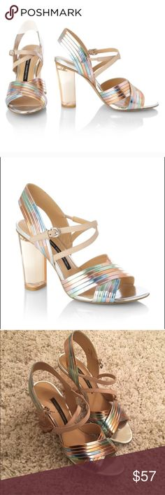 French Connection Peggy disco lucite heels ✨✨✨ Candy colored metallic strappy high heeled sandals with clear lucite heels from French Connection. Euro 40. A few scuffs but otherwise great condition! ✨👌 French Connection Shoes Heels