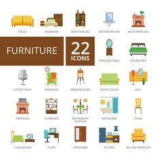 Furniture flat icons set by RedlineVector on @creativework247