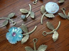 12 Vintage Raw Brass Leaf Stems with Rivet by FindingYourElement