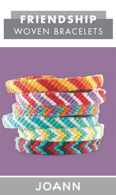 With summer camp season right around the corner, now's the time to learn how to make your own Friendship Woven Bracelets! This tutorial from JOANN can help you teach your kids all the fun patterns they can make with embroidery floss. Embroidery Floss Bracelets, Thread Bracelets, Woven Bracelets, Fun Patterns, Beading Patterns, Embroidery Shop, Embroidery Patterns, Rainbow Loom, Bracelet Tutorial