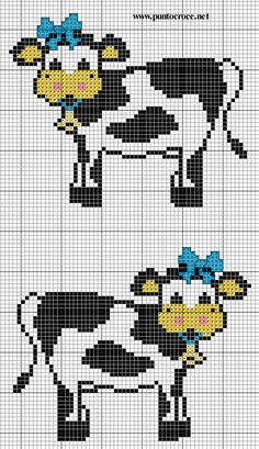 cow with bow Cross Stitch Cow, Cross Stitch Kitchen, Cross Stitch Animals, Cross Stitch Charts, Cross Stitch Patterns, Cross Stitching, Cross Stitch Embroidery, Farm Quilt, Perler Patterns