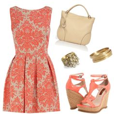 A fashion look from April 2012 featuring Dorothy Perkins dresses, 7 For All Mankind sandals and Salvatore Ferragamo shoulder bags. Browse and shop related look…