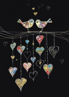 Bug Art - Bird Hearts - designed by Jane Crowther Bug Art, Animal Quilts, Applique Quilts, Applique Cushions, Wool Applique, Wire Art, Heart Art, Whimsical Art, Fabric Art