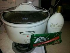 Crock Pot Hot Chocolate  Use two bags of chopped up Ande's mints, one bottle of Rum Chata, two small cans of sweetened condensed milk, one small carton of heavy whipping cream, and 4 cups of milk! Double to make a large pot. Just mix everything together, set on high for 2 hours stirring occasionally and then enjoy
