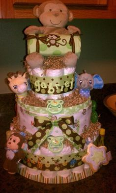 Diaper cake...love the colors of this one!