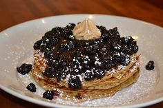 """Buttermilk Pancakes with Blueberries at """"Jam n' Honey"""" 958 W. Webster Ave., Chicago (Lincoln Park )"""