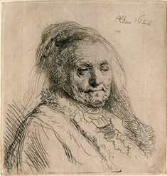 The Artist's Mother, Head and Bust: Three Quarters Right - Rembrandt Prints Online - The Morgan Library & Museum