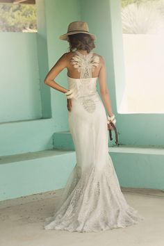 Feather and Lace Wedding Gown Back http://lindaasaf.com/